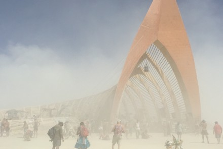 Temple through the dust